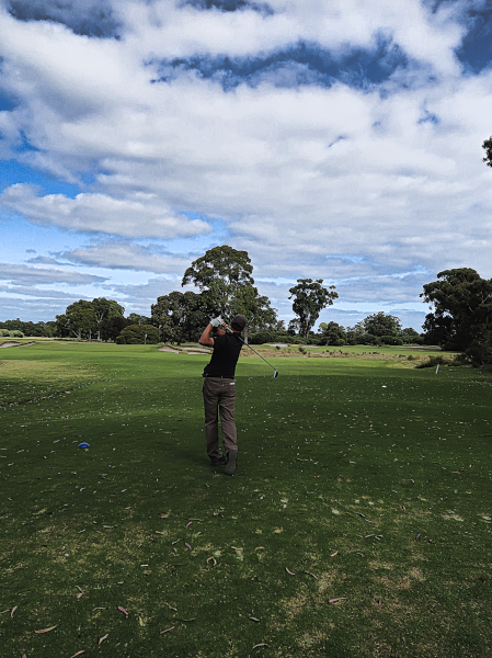 Aim at the fairway bunkers left on the third at Kingston Heath Golf Club