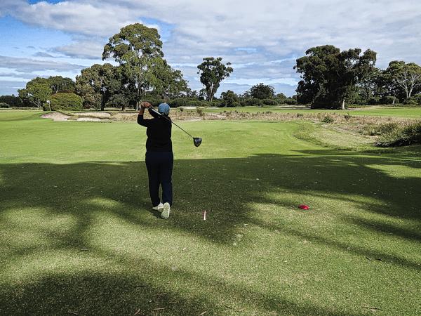 Hitting a ripper on the third at Kingston Heath Golf Club