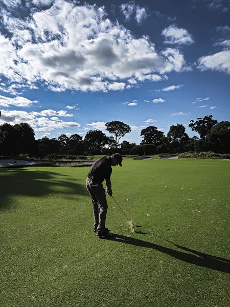 Hitting down on nine at Kingston Heath Golf Club