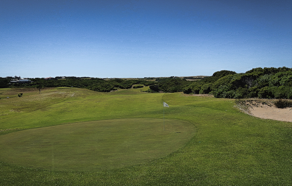 Looking back down the second at King Island Golf and Bowling Club
