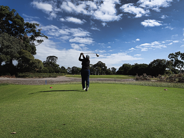 Stay left on the second at Kingston Heath Golf Club