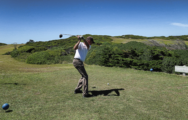 Teeing off on eight at King Island Golf and Bowling Club