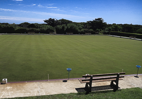 The bowling green at King Island Golf and Bowling Club