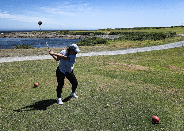 The dogleg left fifth at King Island Golf and Bowling Club