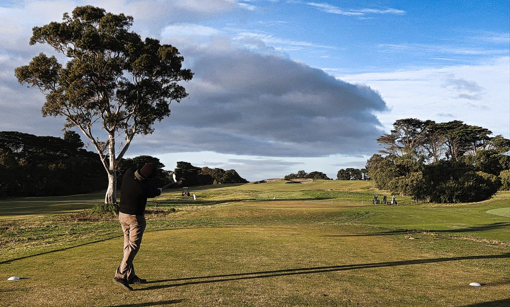 Aim at the fairway bunkers on the fourth at Royal Melbourne Golf Club