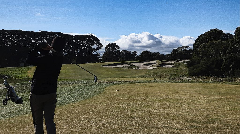 Fly the pathway on eighteen at Royal Melbourne Golf Club