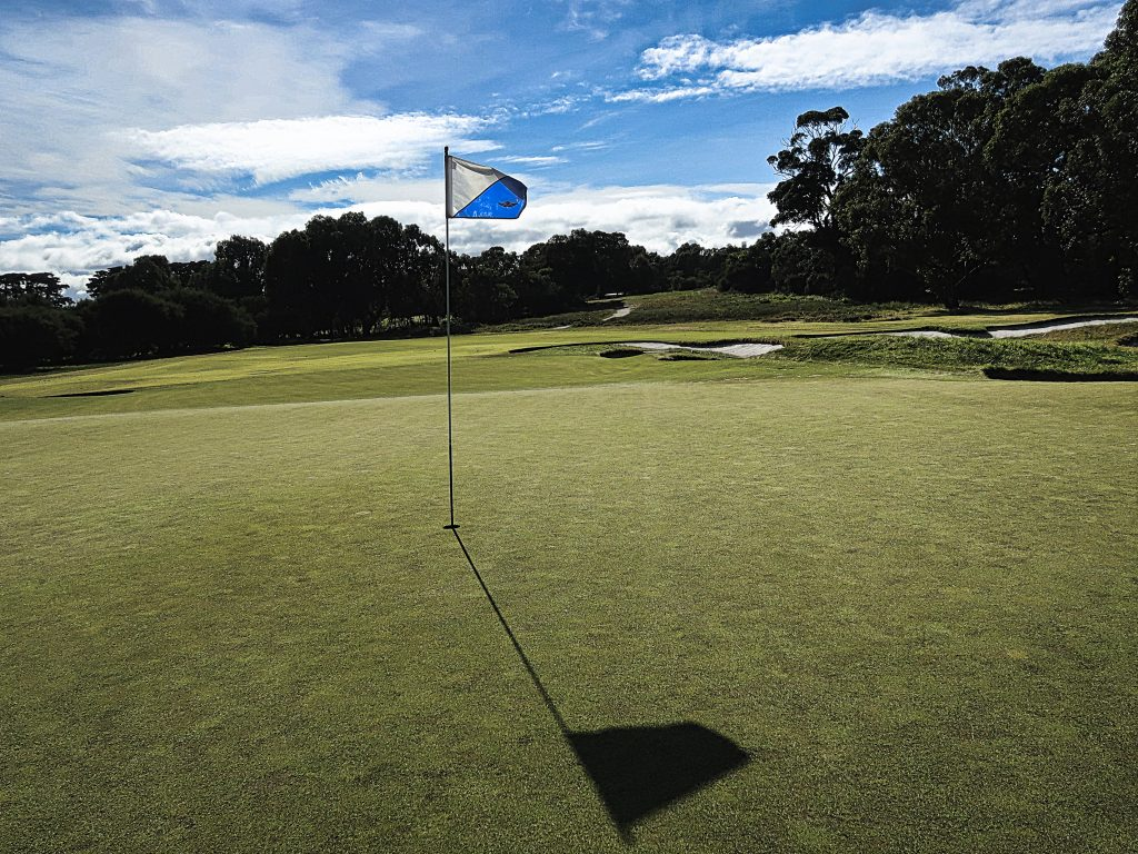 Looking back towards the tee on sixteen at Royal Melbourne