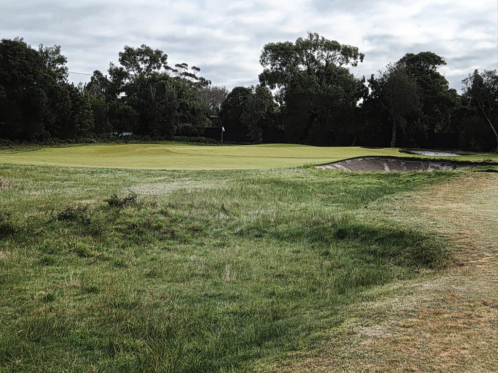 Optical illusion short of the twelfth at Royal Melbourne Golf Club