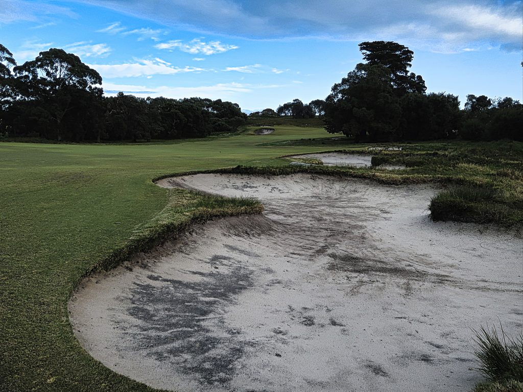 Perfectly positioned fairway bunkers on six at Royal Melbourne Golf Club