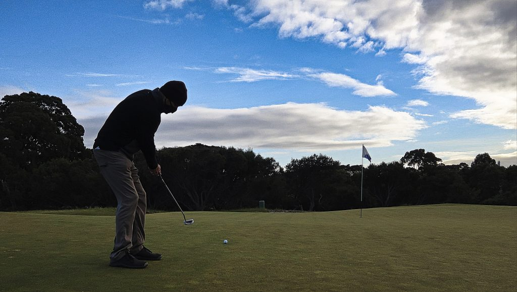 Putting for birdie on seven at Royal Melbourne Golf Club