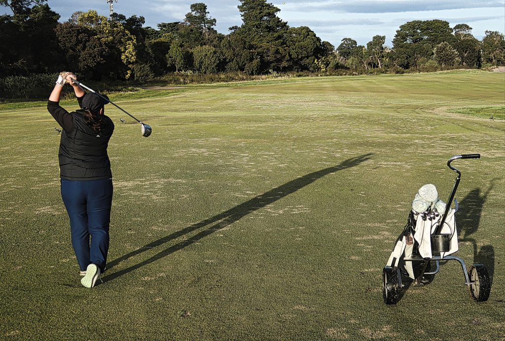The approach on four at Royal Melbourne Golf Club