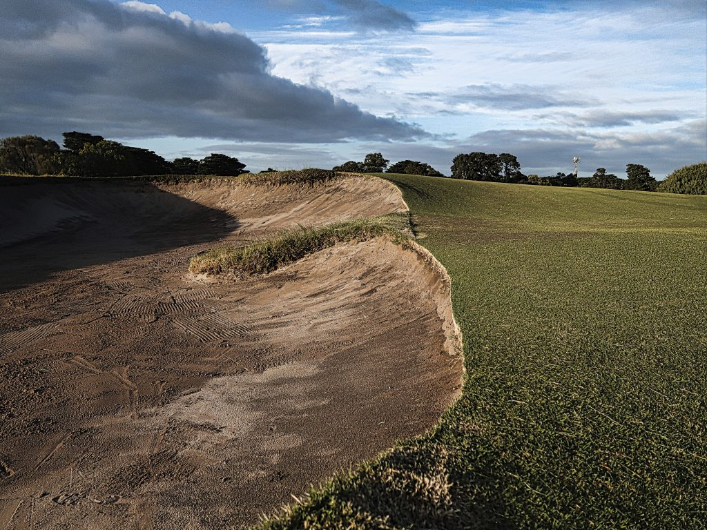 The fairway bunkers are the best target on four at Royal Melbourne Golf Club