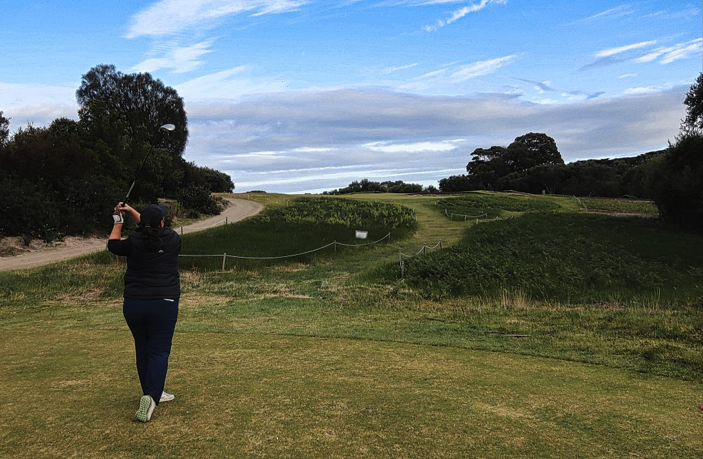 The tee shot on the seventh at Royal Melbourne Golf Club